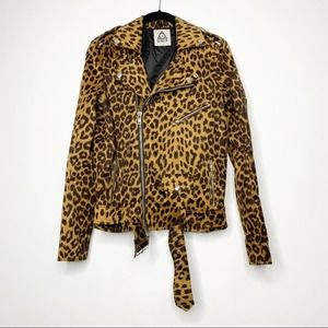 UNIF Studded Leopard Moto Jacket Small
